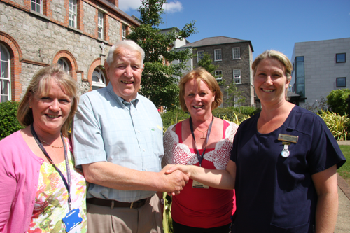 Paddy Doolin with (left to right) Siobhán Harrison, Anne Moore and specialist cancer nurse Catherine O'Brien