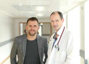 Dylan Byrne, Cardiac patient and Dr Ross Murphy, consultant cardiologist at St. James's Hospital