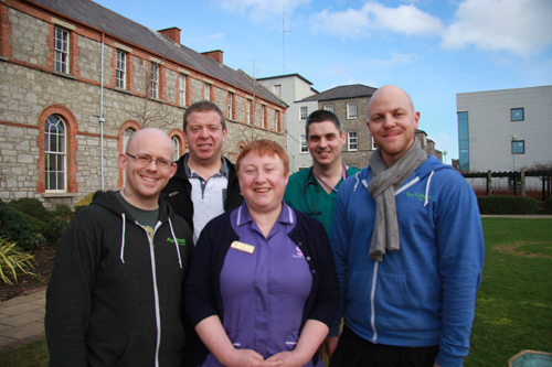 Anthony Carroll (back left) with Paul McElwain – Senior Registrar in the Stroke Service with (front row left to right) Richard Murphy, Suzanne Walsh – Specialist Nurse in Stroke Medicine and Andy Myers