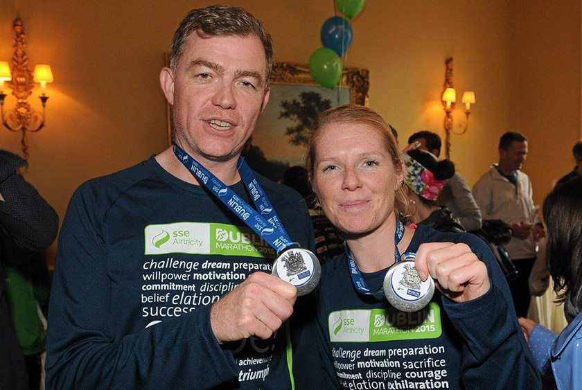 Colin and Claire with their marathon medals