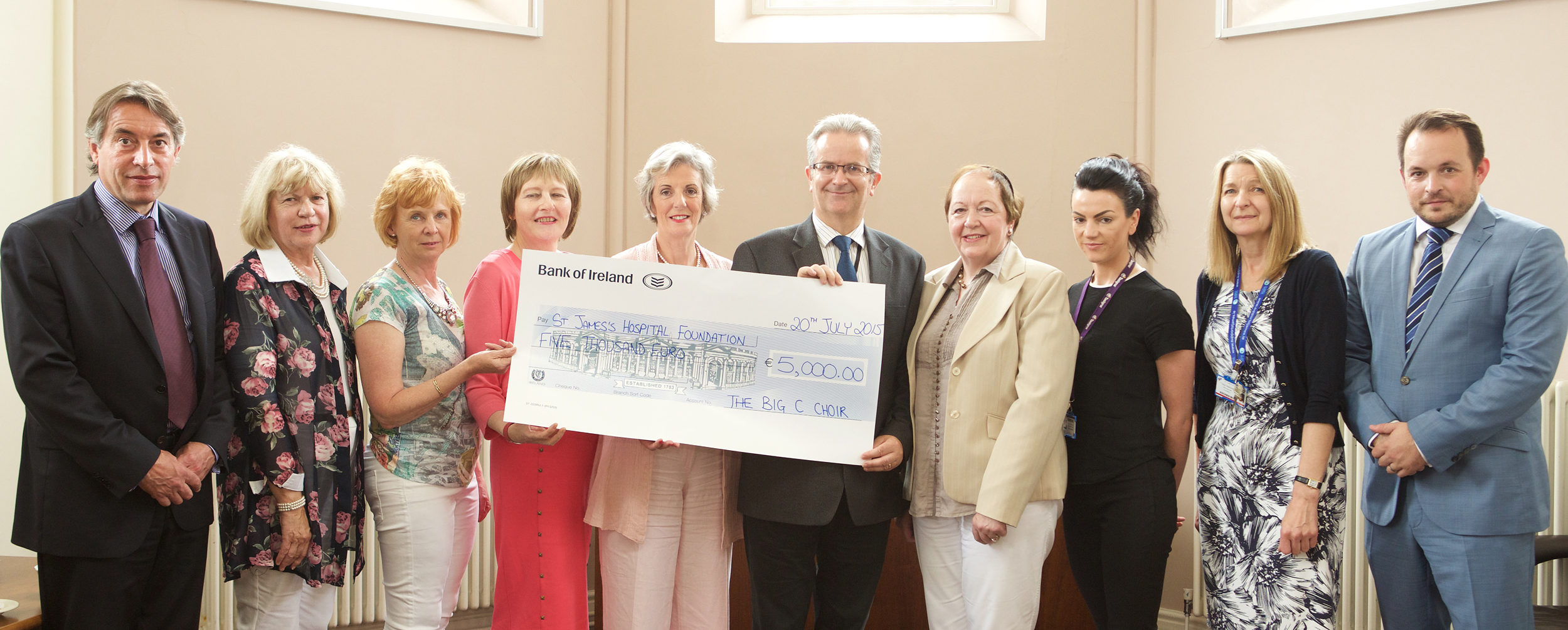 The Big C Choir present a cheque to St. James's Hospital Foundation